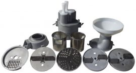 Alumínium passzírozó, szeletelő, kockázó segédgép, rozsdamentes acél tárcsákkal