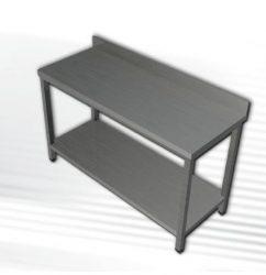 Rozsdamentes munkaasztal 1 polccal, hátsó felhajtással, 100x60x90 cm