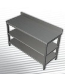 Rozsdamentes munkaasztal 2 polccal, hátsó felhajtással, 100x60x90 cm