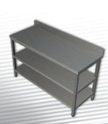 Rozsdamentes munkaasztal 2 polccal, hátsó felhajtással, 120x60x90 cm